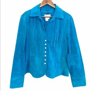 Live a Little Turquoise Snap Suede Leather Jacket